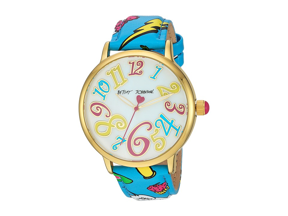 Betsey Johnson - BJ00496-59 - Betsey Emoji Print (Teal) Watches