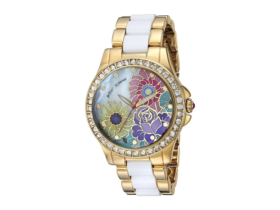 Betsey Johnson - BJ00246-15 - Floral Print Face (Gold/White) Watches