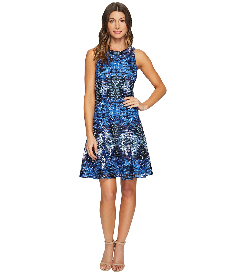 Maggy London Placed Flower Shield Printed Lace Fit and Flare Dress (Soft White/Cobalt Blue) Women