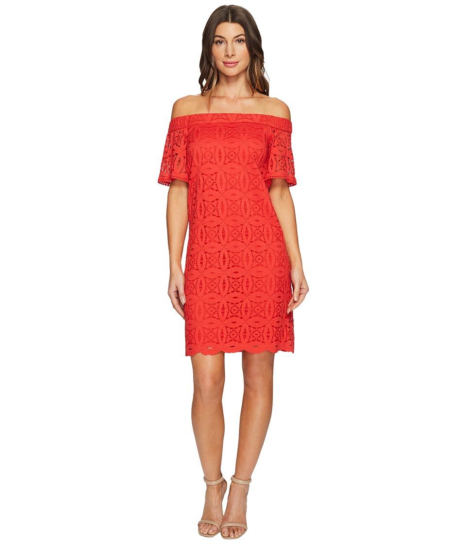 Maggy London Geo Petal Lace Off the Shoulder Shift Dress (Firecracker) Women