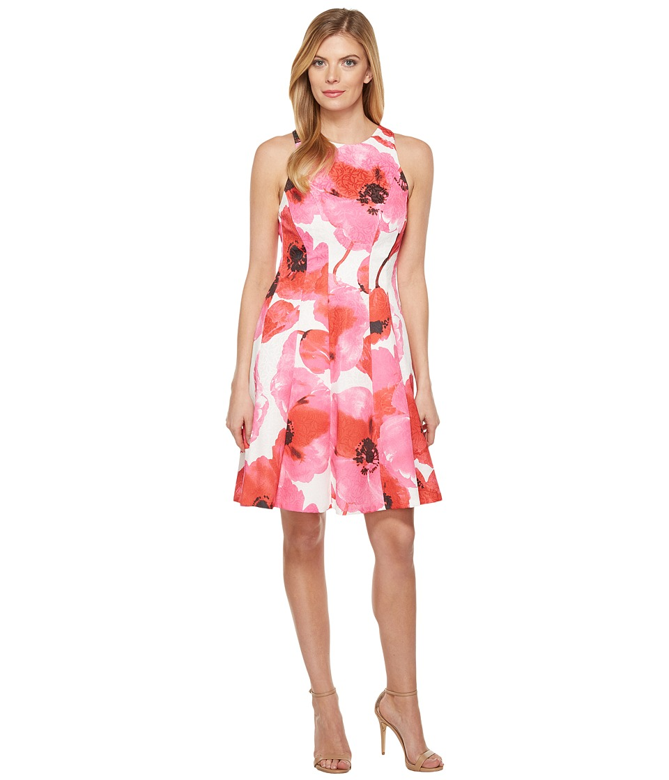 Maggy London Poppy Stem Cotton Jacquard Fit and Flare Dress (Soft White/Red) Women