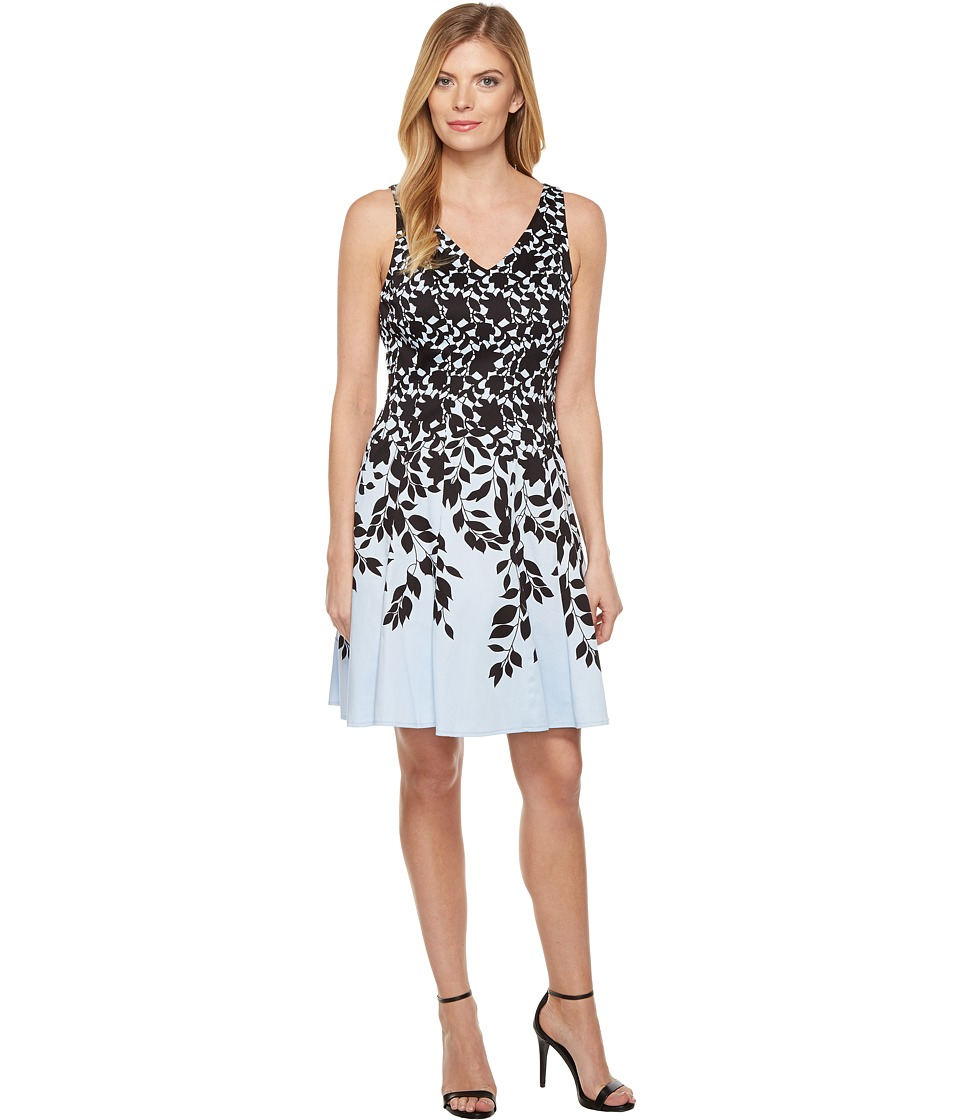 Maggy London Lace Leaf Border Fit and Flare Dress (Sky/Black) Women