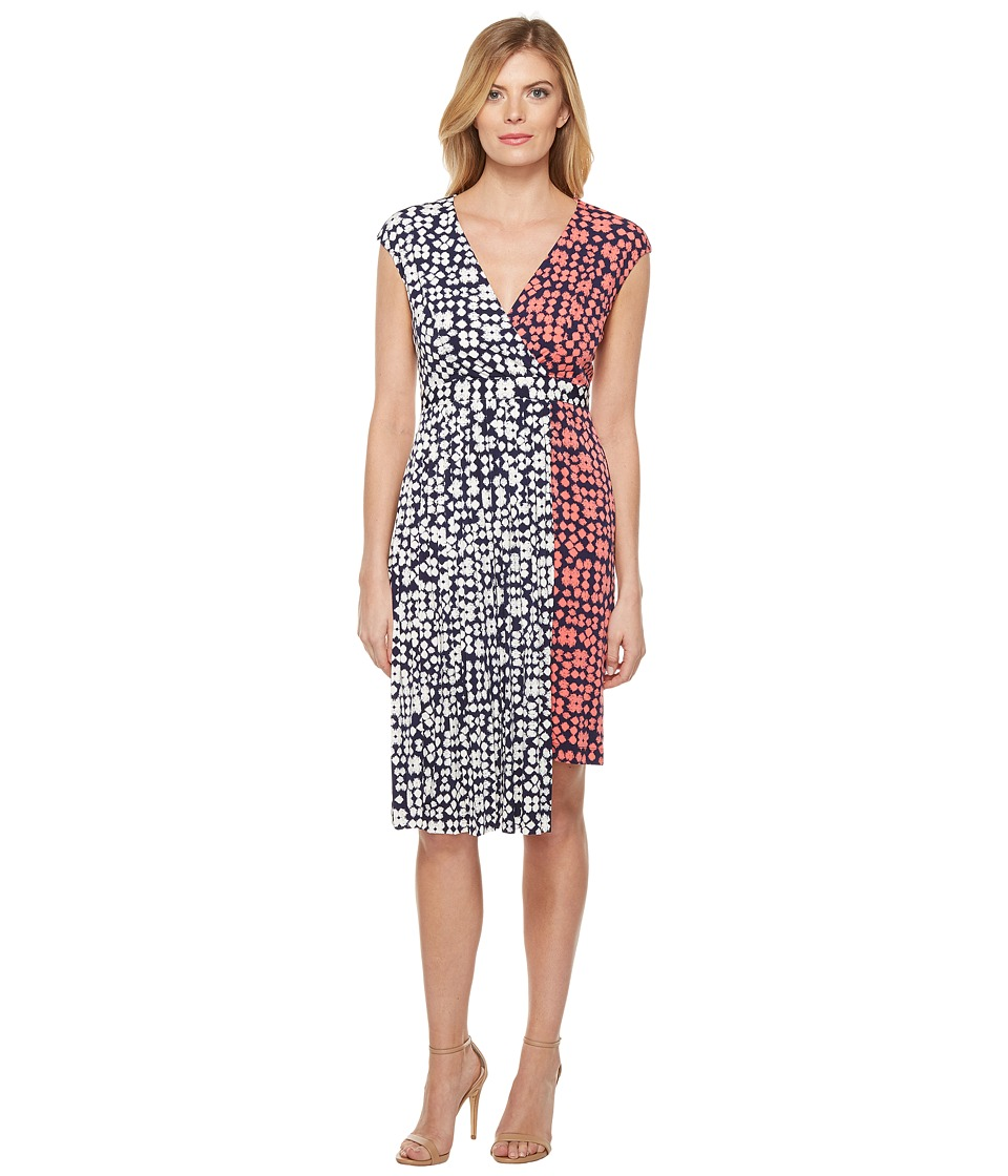 Maggy London Spot Dot Jersey Fit and Flare Dress with Pleated Skirt (Coral/Navy) Women