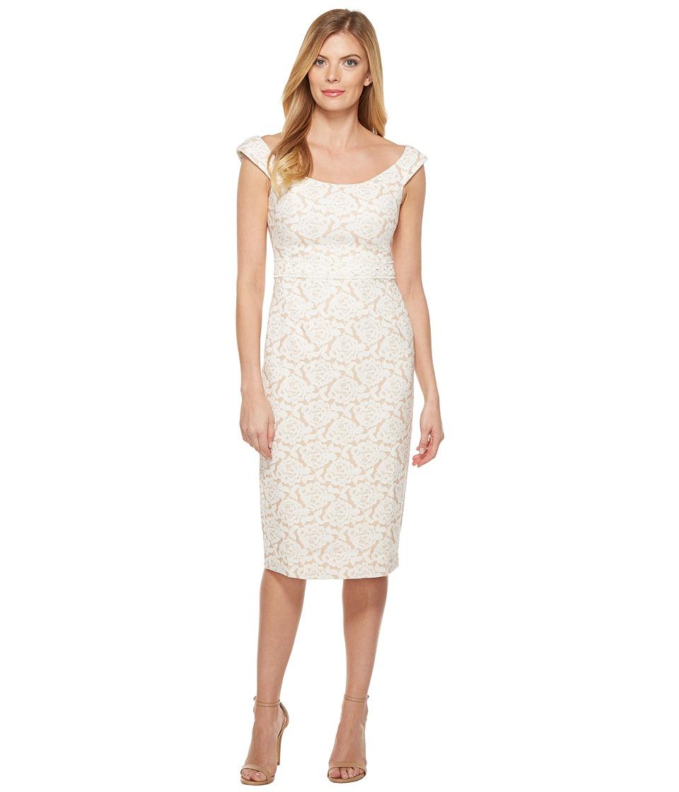 Maggy London Natural Bloom Jacquard Sheath Dress (Natural) Women