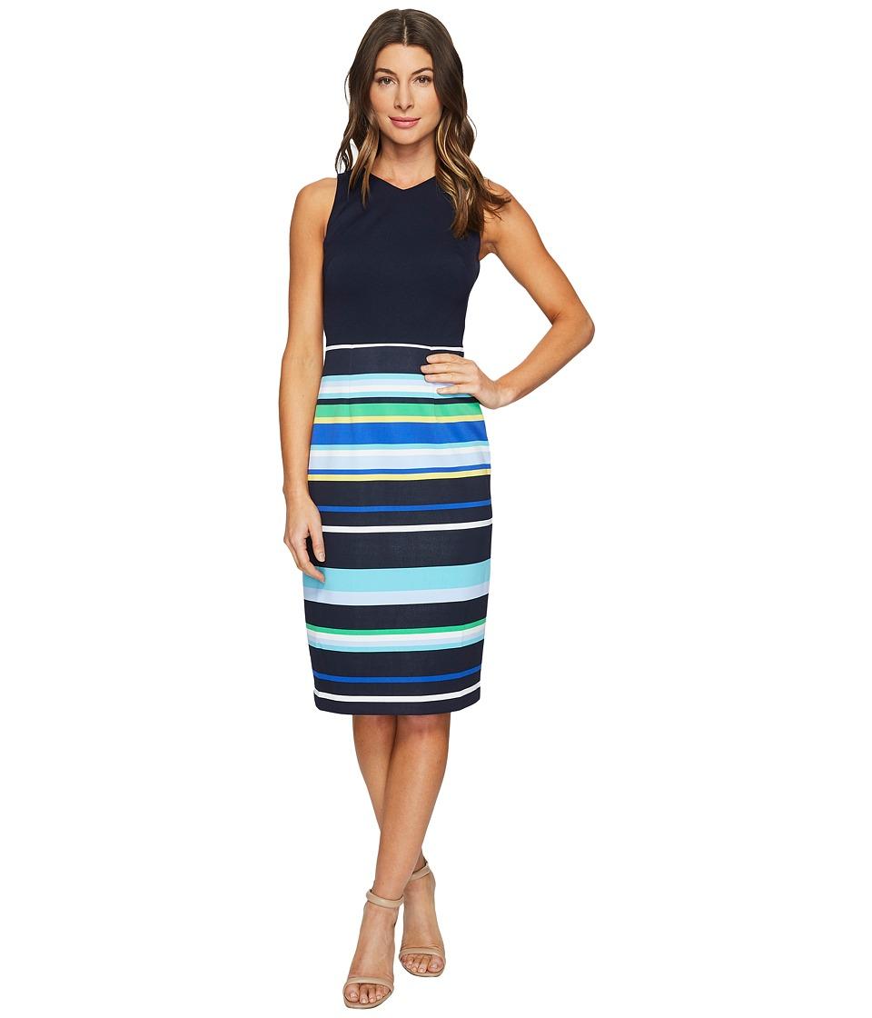 Maggy London Regatta Stripe Scuba Sheath Dress (Blue/Navy) Women