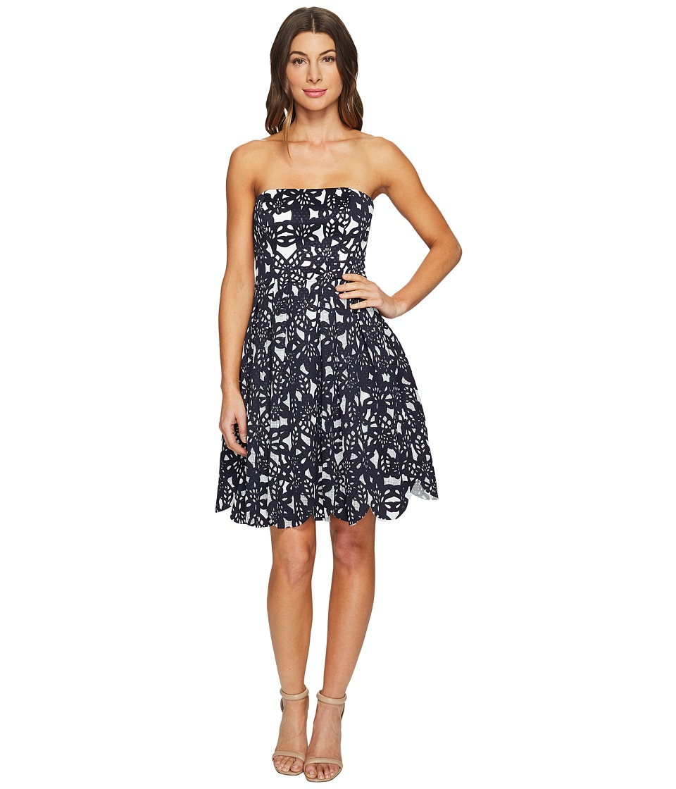 Maggy London Bonded Mesh Flower Fit and Flare Dress (Navy/White) Women