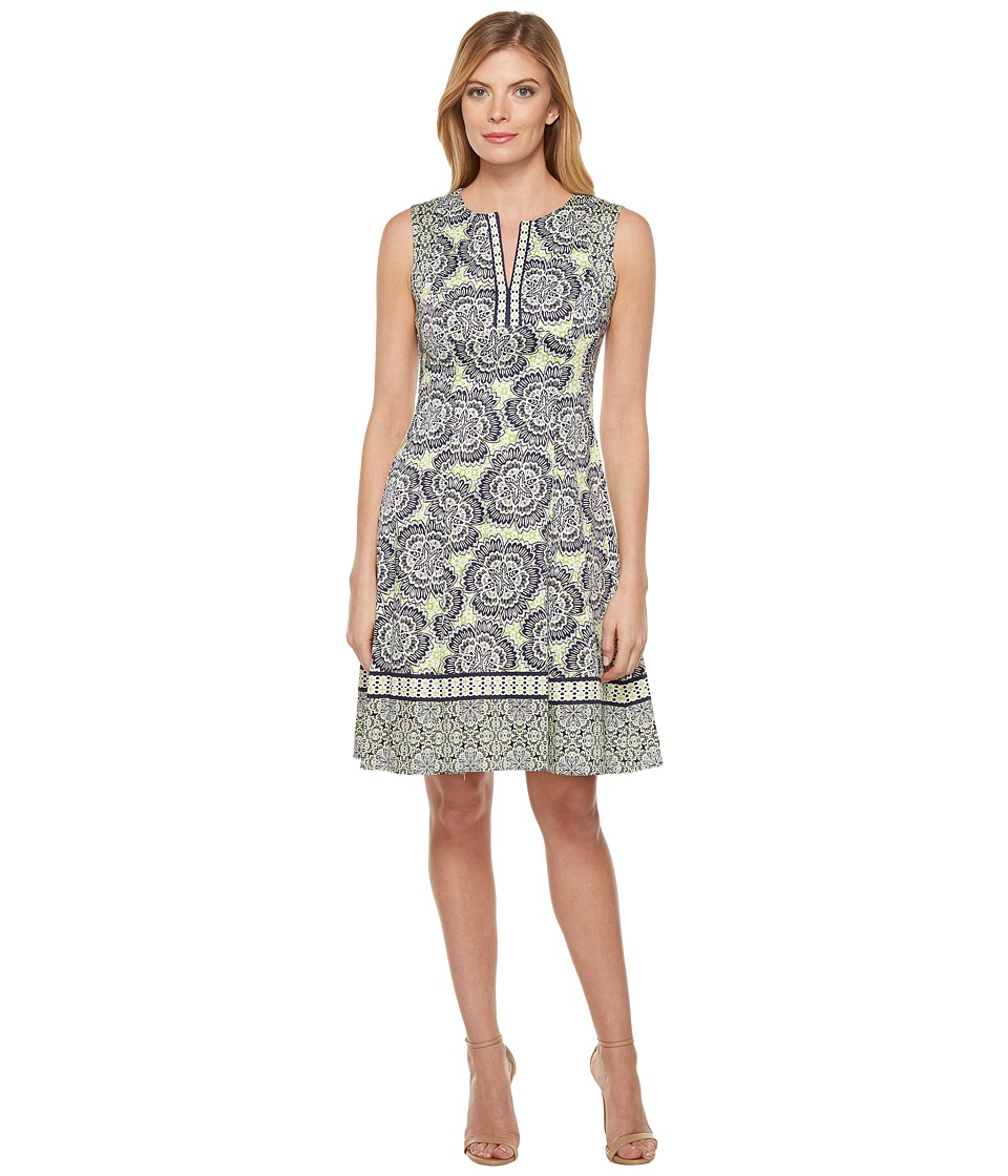 Maggy London Twin Etched Flower Cotton Fit and Flare Dress (Soft White/Spring Green) Women