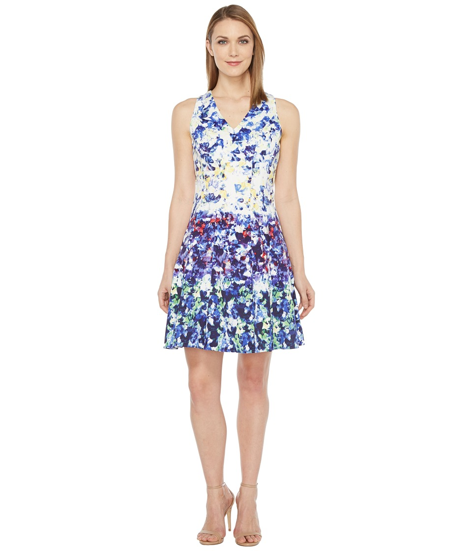 Maggy London Pansy Meadow Stripe Cotton Fit and Flare Dress (Soft White/Navy) Women