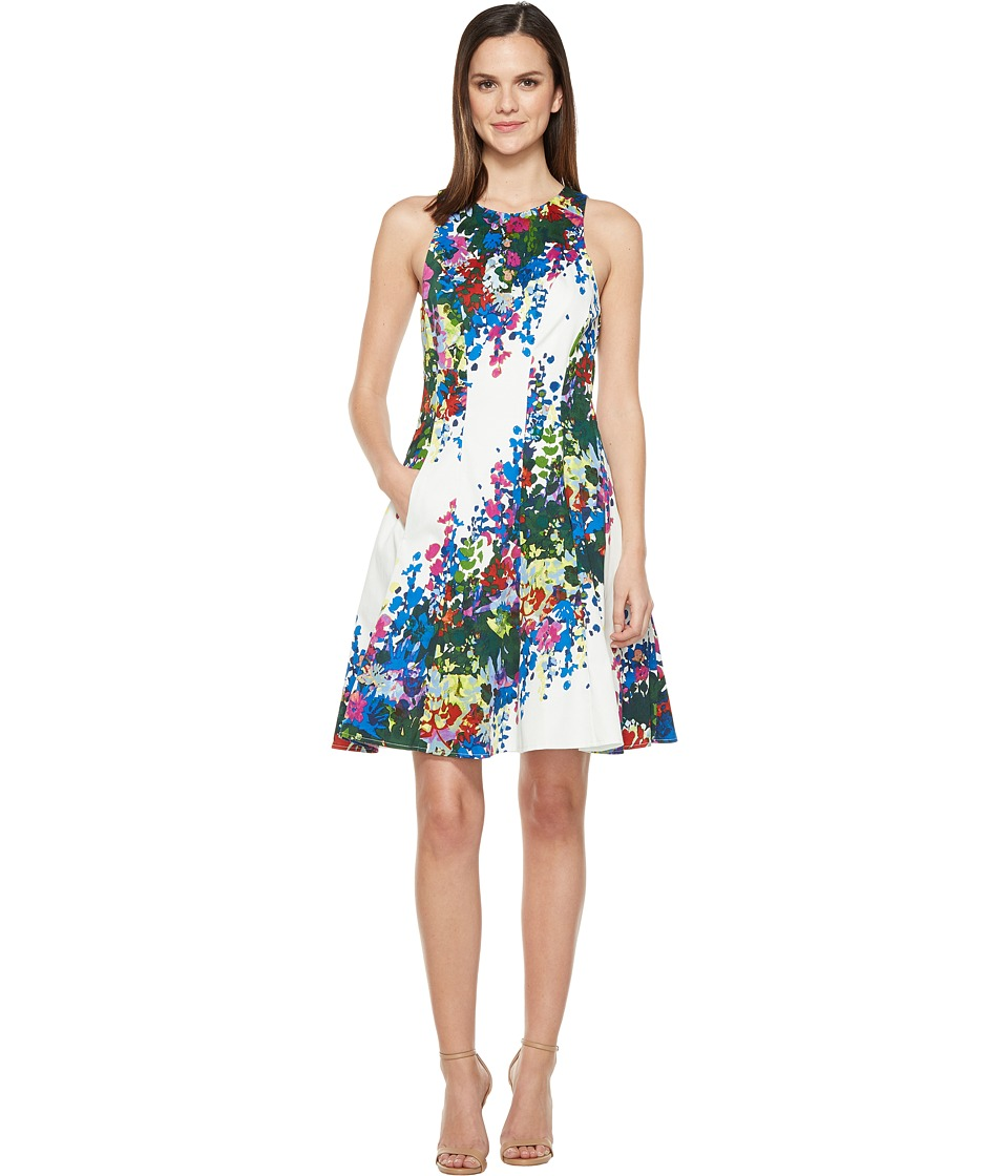 Maggy London Shadow Garden Flower Cotton Fit and Flare Dress (White/Pink) Women