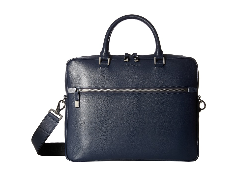 BUGATCHI Saffiano Leather Two-Tone Briefcase (Navy) Briefcase Bags
