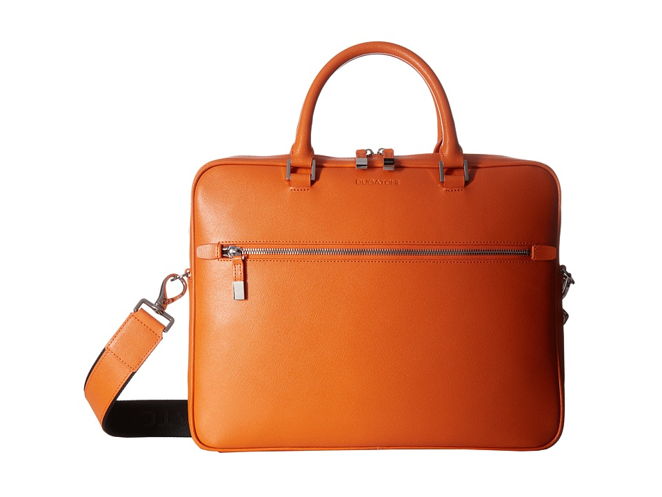 BUGATCHI Saffiano Leather Two-Tone Briefcase (Orange) Briefcase Bags