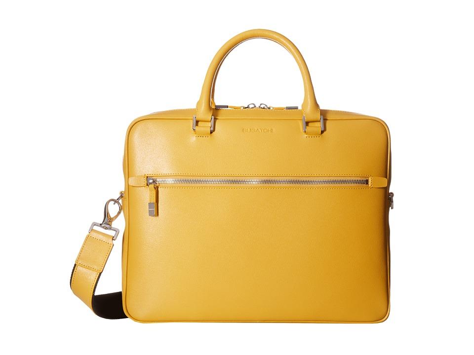 BUGATCHI Saffiano Leather Two-Tone Briefcase (Sun) Briefcase Bags