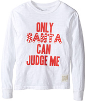 The Original Retro Brand Kids - Only Santa Can Judge Me Long Sleeve Vintage Cotton Slub Tee (Little Kids/Big Kids)