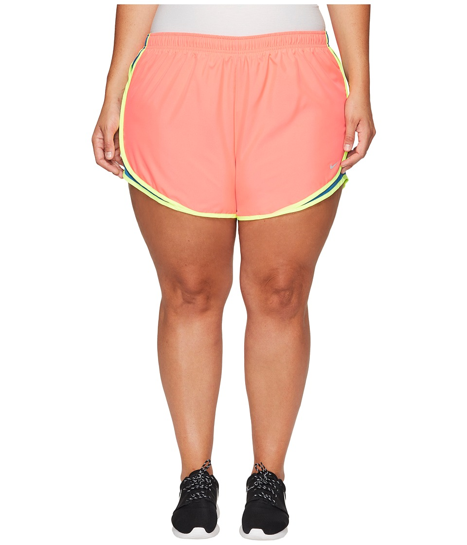 Nike Dry Tempo 3 Running Short (Size 1X-3X) (Racer Pink/Industrial Blue/Wolf Grey) Women