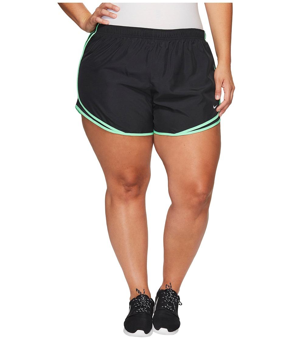 Nike Dry Tempo 3 Running Short (Size 1X-3X) (Black/Black/Electro Green/Wolf Grey) Women