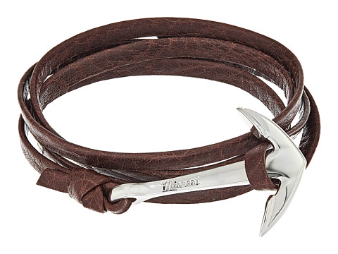 Miansai Silver Anchor on Leather Bracelet - Mojave