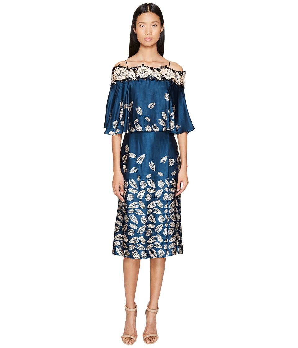 YIGAL AZROU  L - Leaf Embroidered Printed Cold Shoulder Dress
