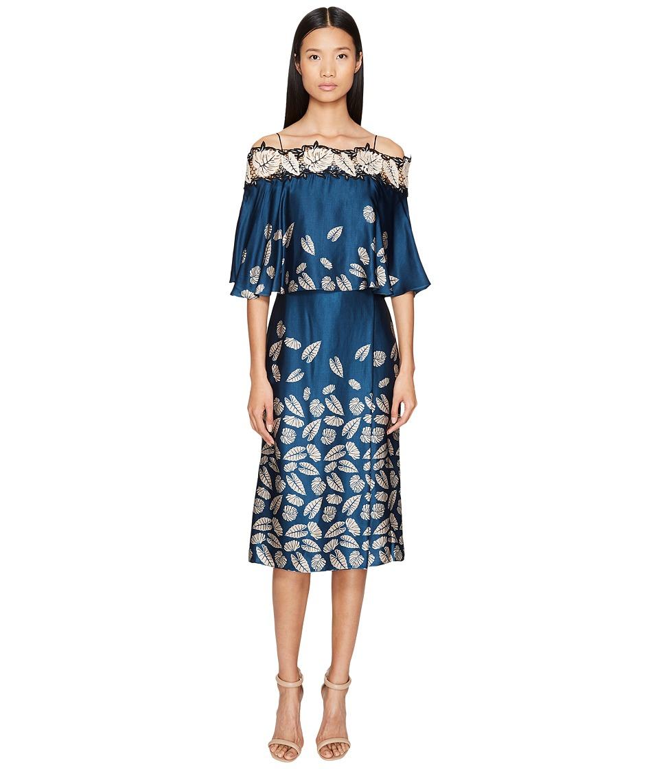 YIGAL AZROUEL Leaf Embroidered Printed Cold Shoulder Dress (Mariner Blue) Women