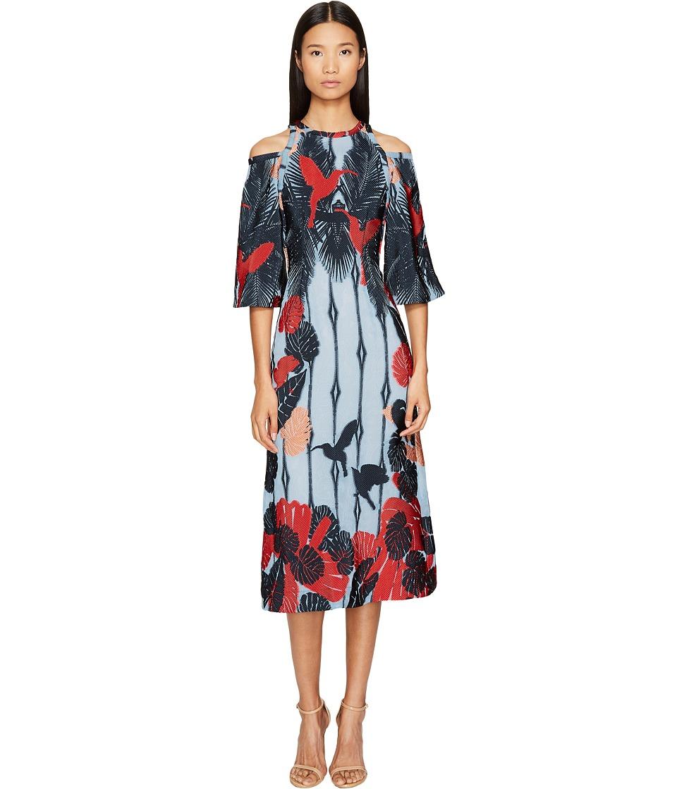 YIGAL AZROU  L - Cold Shoulder Flare Dress