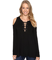 Karen Kane - Lace-Up Cold Shoulder Top