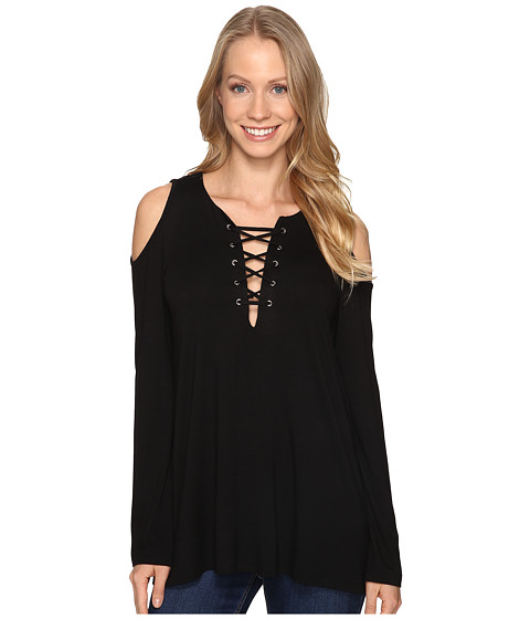 Karen Kane Lace-Up Cold Shoulder Top - Black