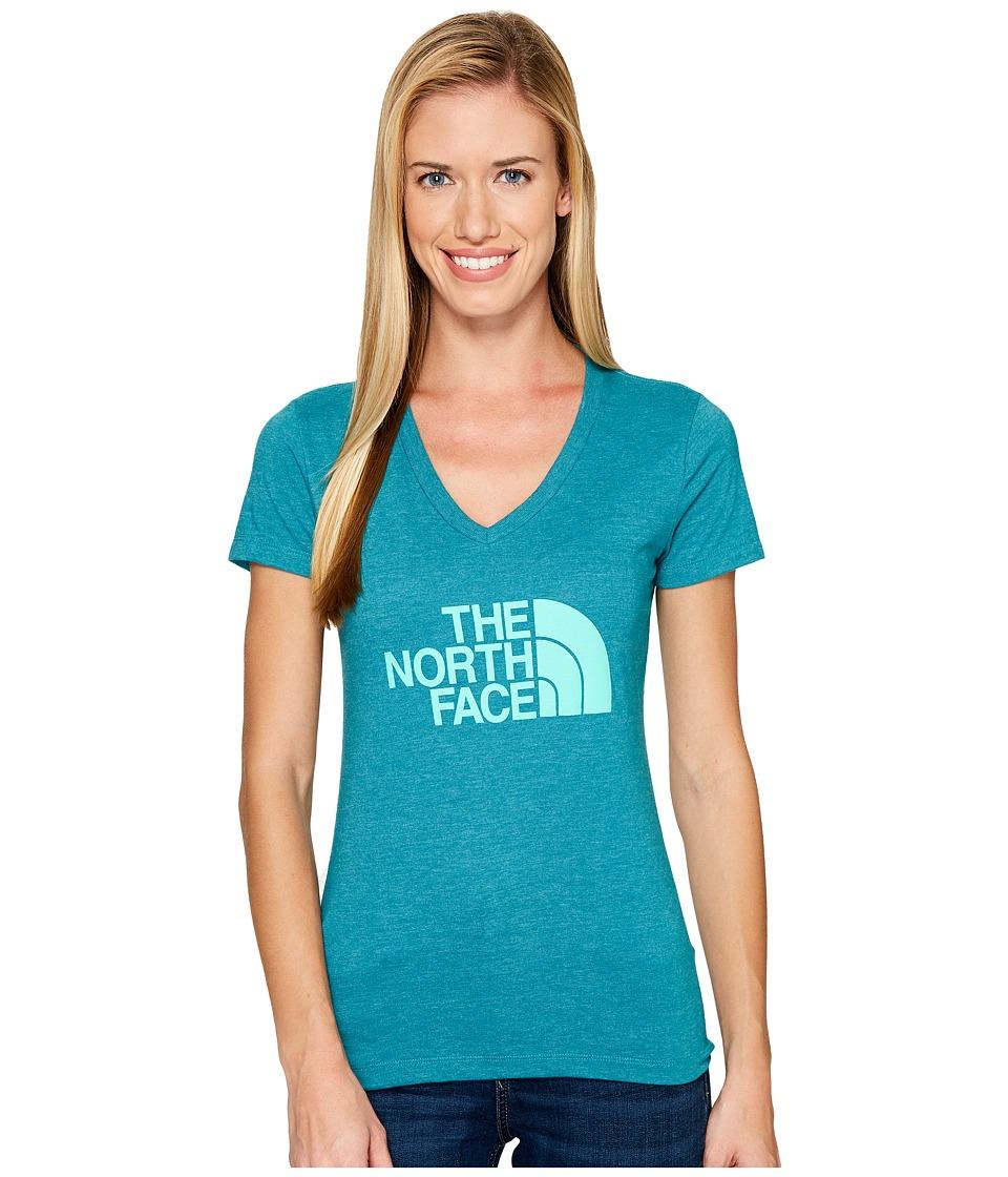 The North Face Short Sleeve Half Dome V-Neck Tee (Harbor Blue Heather/Bermuda Green (Prior Season)) Women