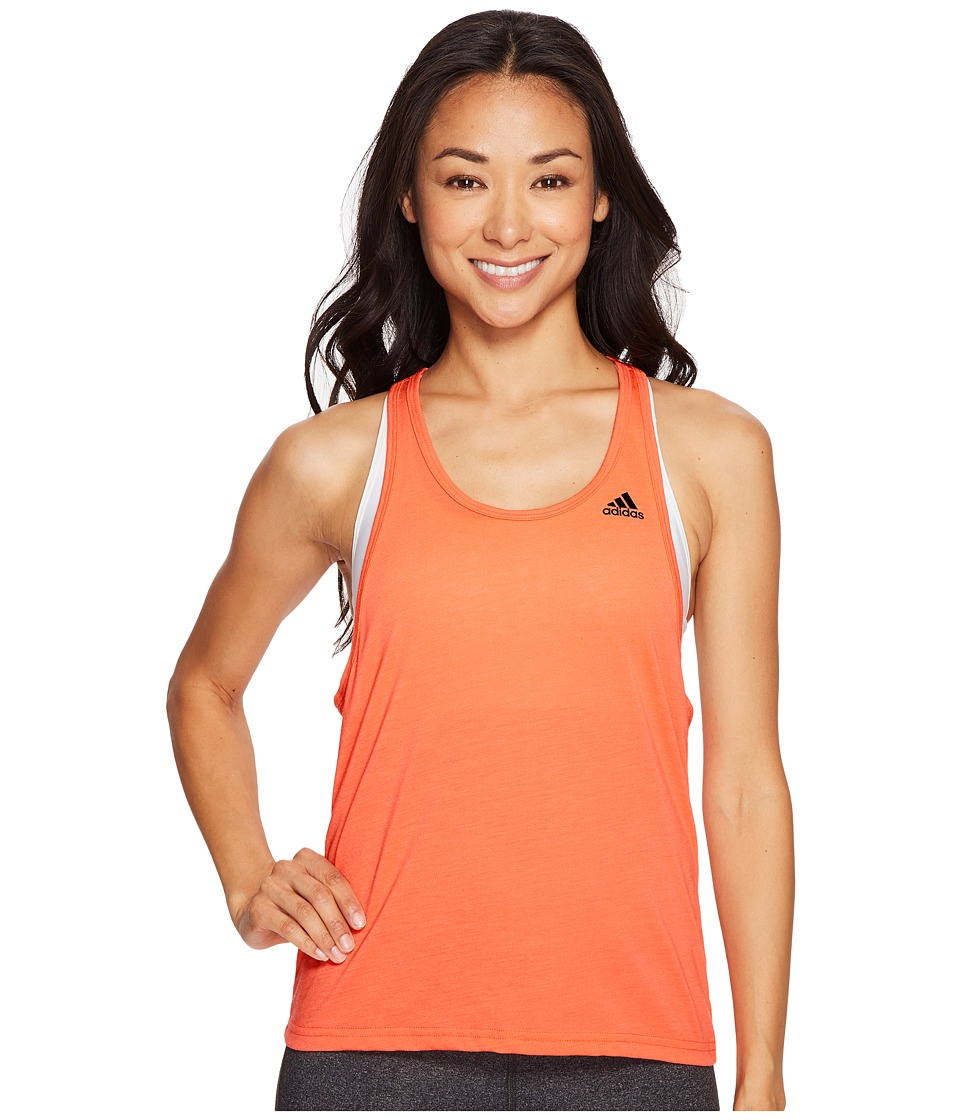 adidas - Ultimate Tank (Easy Coral/Black) Women's Sleeveless