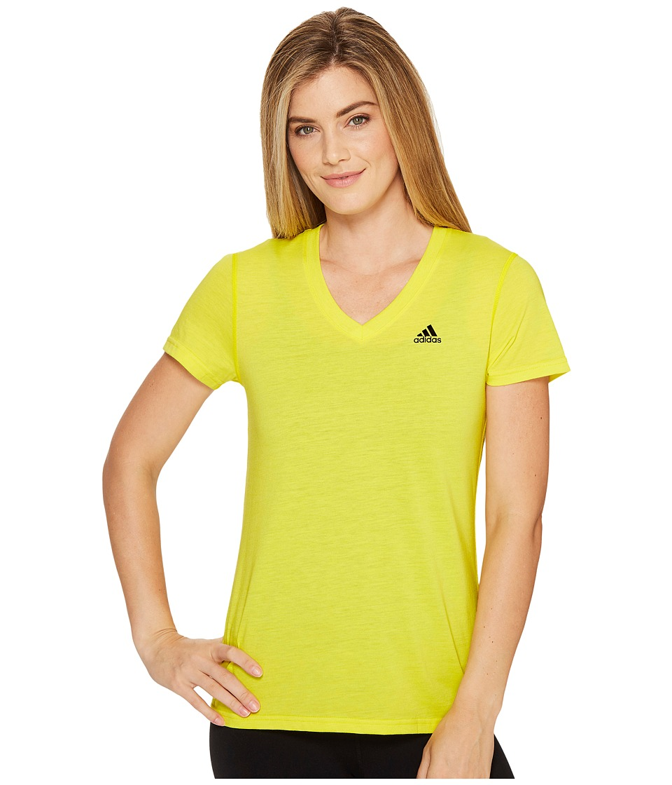 adidas Ultimate V-Neck Tee (Bright Yellow/Black) Women
