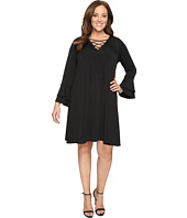 Karen Kane Plus - Plus Size Lace-Up Flare Sleeve Dress