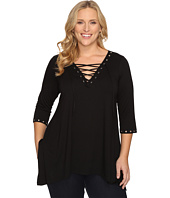 Karen Kane Plus - Plus Size Lace Up Handkerchief Top