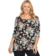 Karen Kane Plus - Plus Size Blue Floral High-Low Top