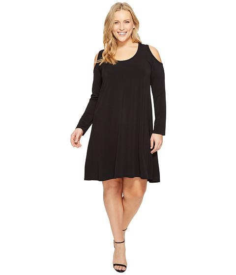 Karen Kane Plus Plus Size Cold Shoulder Trapeze Dress - Black