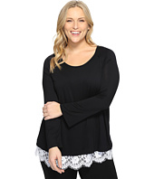 Karen Kane Plus - Plus Size Lace Hem Boat Neck Top