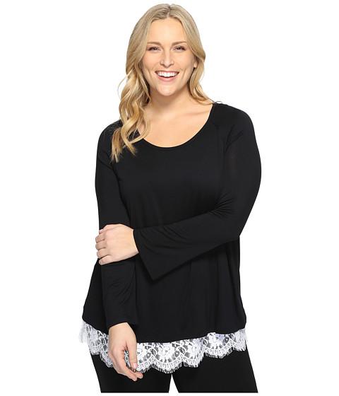 Karen Kane Plus Plus Size Lace Hem Boat Neck Top