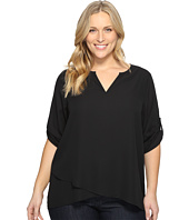 Karen Kane Plus - Plus Size Asymmetric Hem Wrap Top