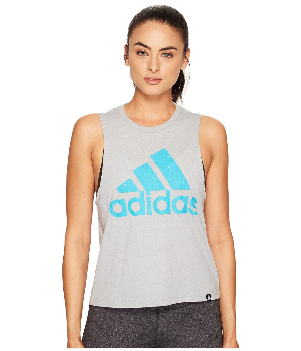 adidas Speckled Badge Of Sport Boxy Tank Top (Medium Grey Heather/Lab Green) Women
