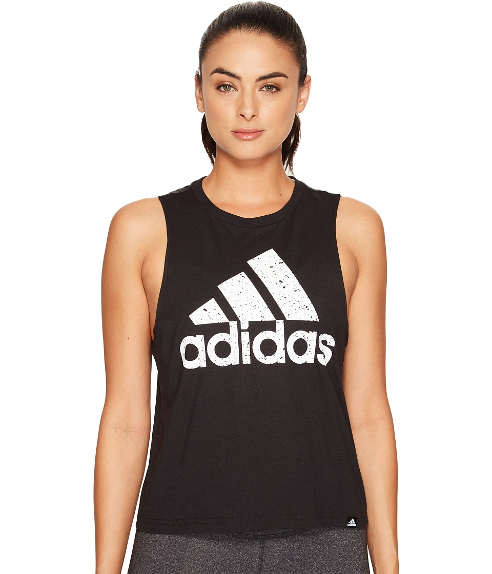 adidas Speckled Badge Of Sport Boxy Tank Top (Black/White) Women