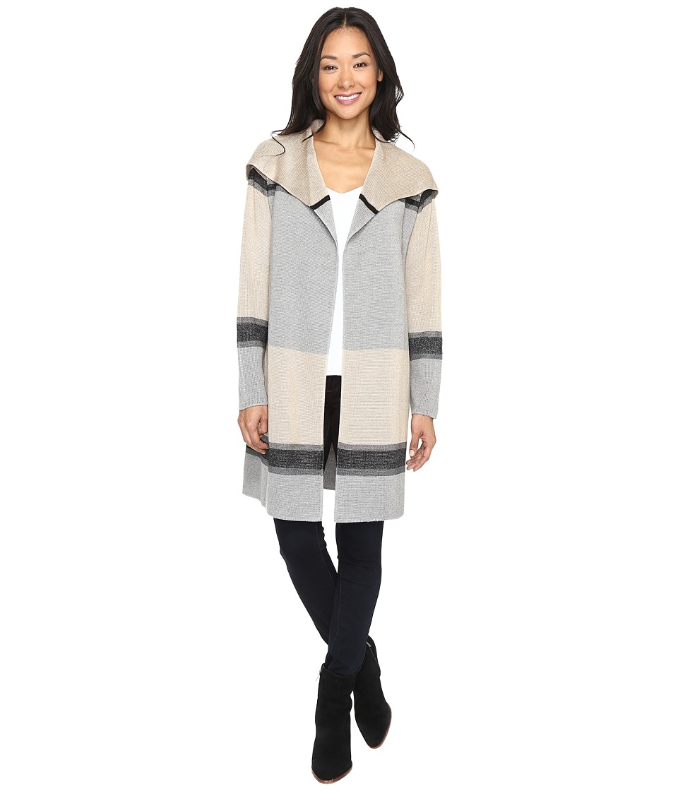 Calvin Klein Color Blocked Cardigan (Heather Latte/Heather Granite Combo) Women