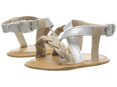 Baby Deer Crisscross Sandal with Braid (Infant) - Silver/Gold