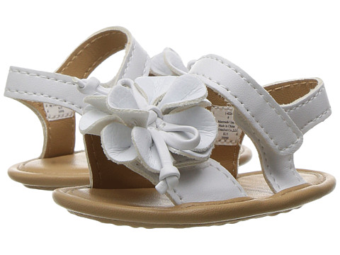 Baby Deer Double Strap Sandal with Flower (Infant) - White