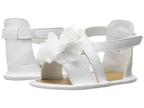 Baby Deer Crisscross Sandal with Flower (Infant) - White