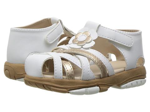 Baby Deer T-Strap Sandal (Infant/Toddler) - White/Gold