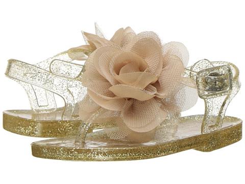 Baby Deer Glitter Jelly Thong Sandal (Infant/Toddler) - Gold