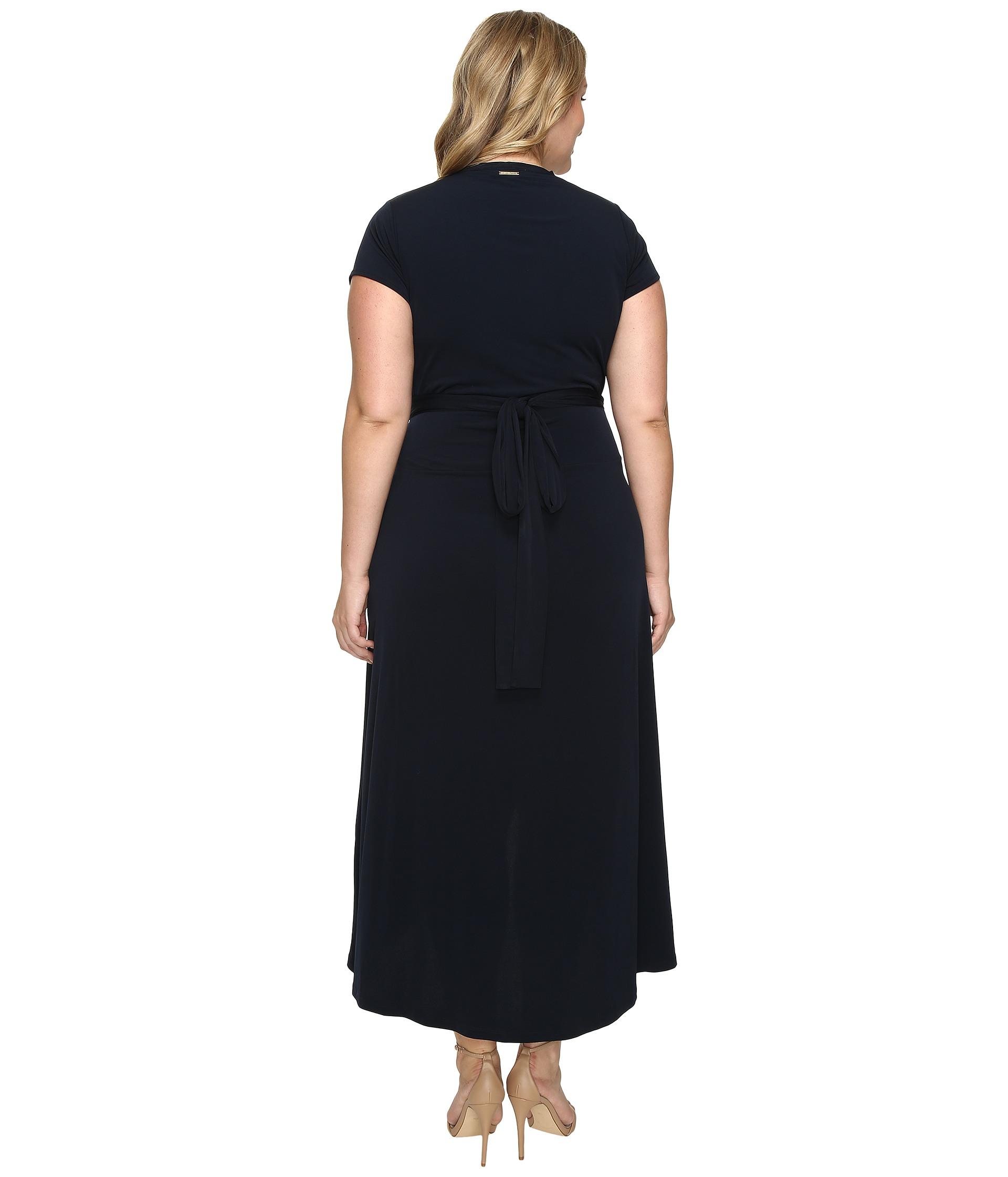 MICHAEL Michael Kors Plus Size Cap Sleeve Maxi Wrap Dress