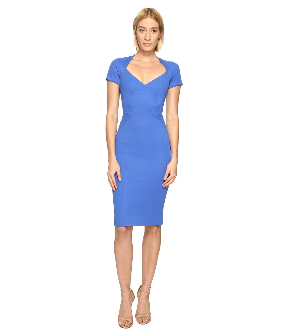 Zac Posen Bondage Jersey Short Sleeve Dress (Blue) Women