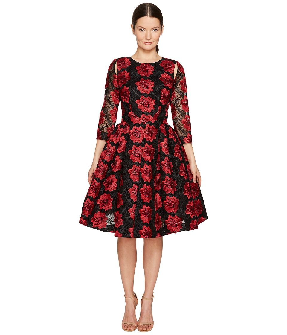 Zac Posen Poppy Embroidery 3/4 Sleeve Dress (Poppy/Black) Women