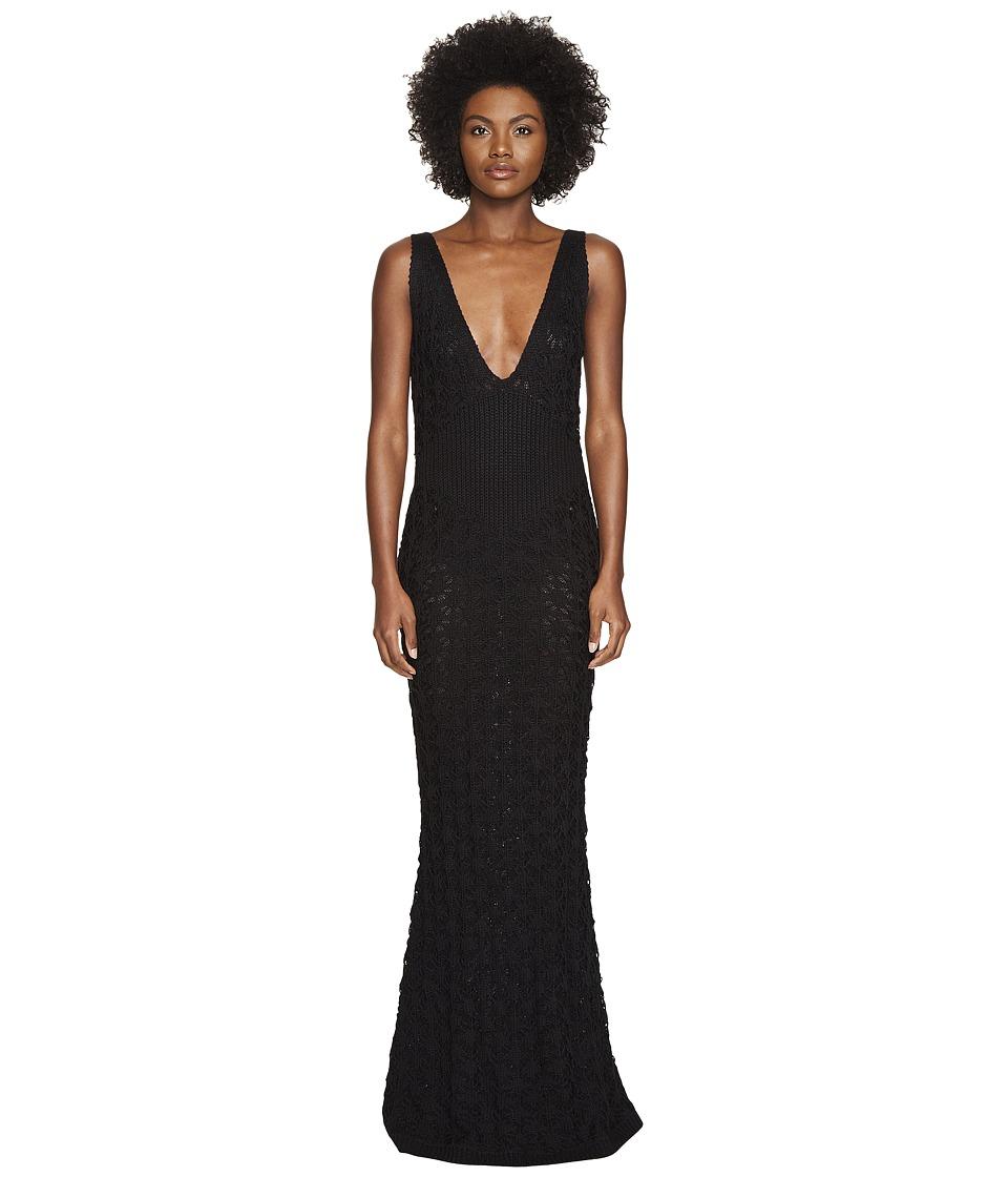 Zac Posen Dandelion Lace Knit Sleeveless Maxi Dress (Black) Women