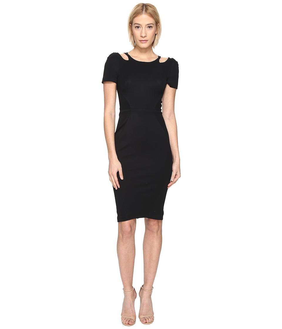Zac Posen Bondage Cut Out Jersey Short Sleeve Dress (Black) Women