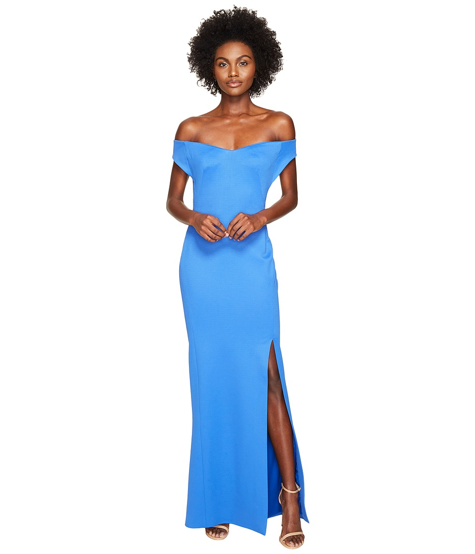 Zac Posen Bondage Jersey Off the Shoulder Dress (Blue) Women