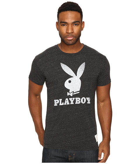 The Original Retro Brand Short Sleeve Tri-Blend Playboy Bunny Tee - Streaky Black